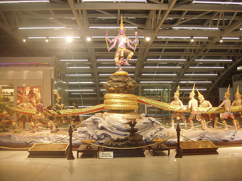 Thailand - Bangkok Airport - A very large monument located inside the Bangkok airport